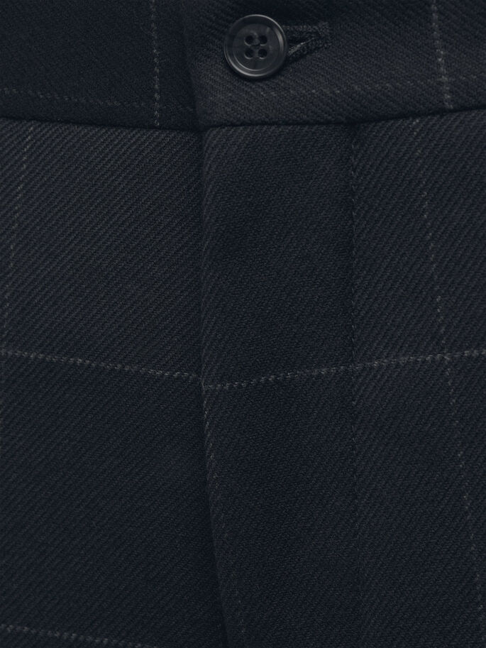 WOOL BLEND WINDOW CHECK TROUSERS, Dark Navy, large