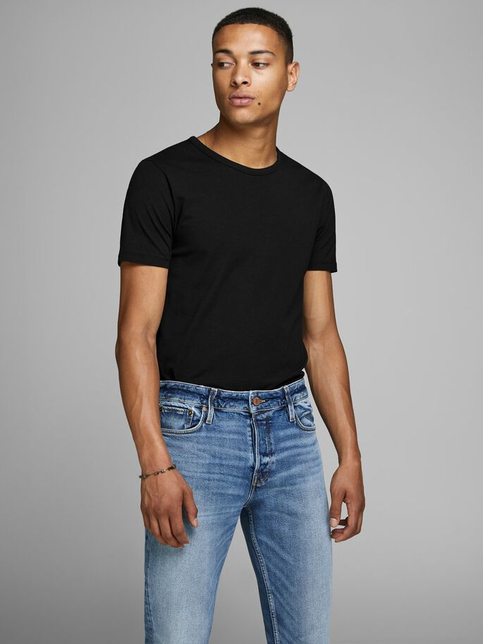 BASIC O-NECK REGULAR FIT T-SHIRT, BLACK, large