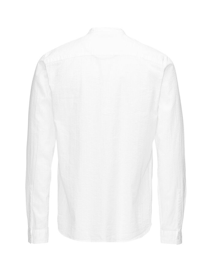 BAND COLLAR LANGERMET SKJORTE, White, large