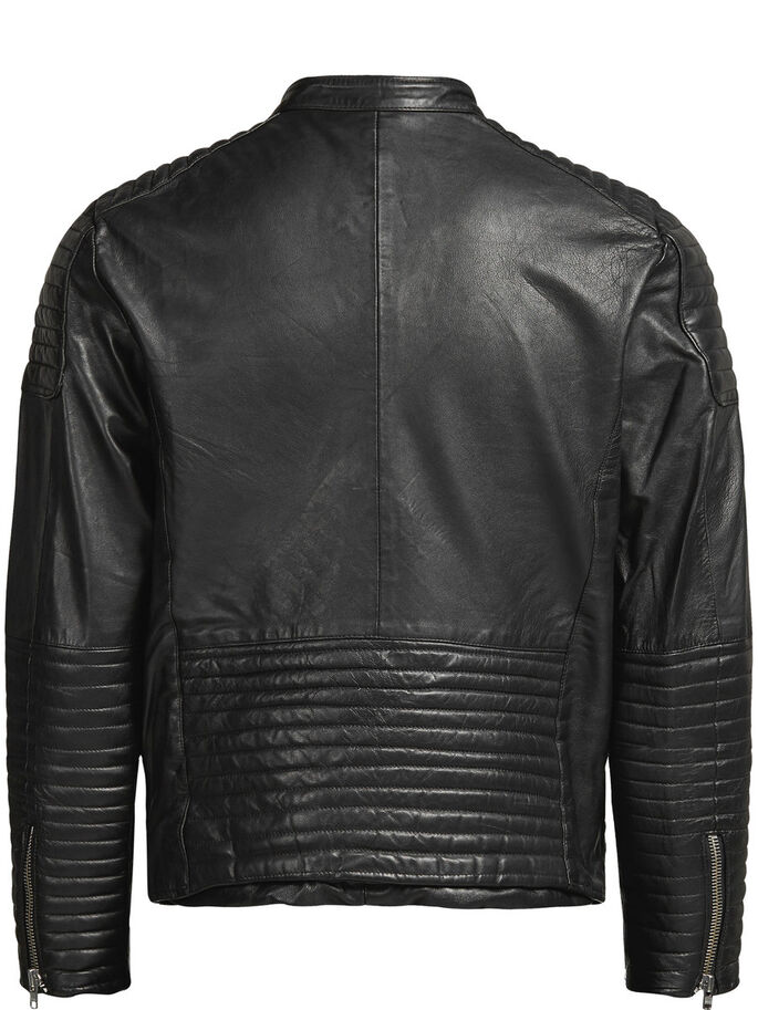 LAMB LEATHER BIKER JACKET, Black, large