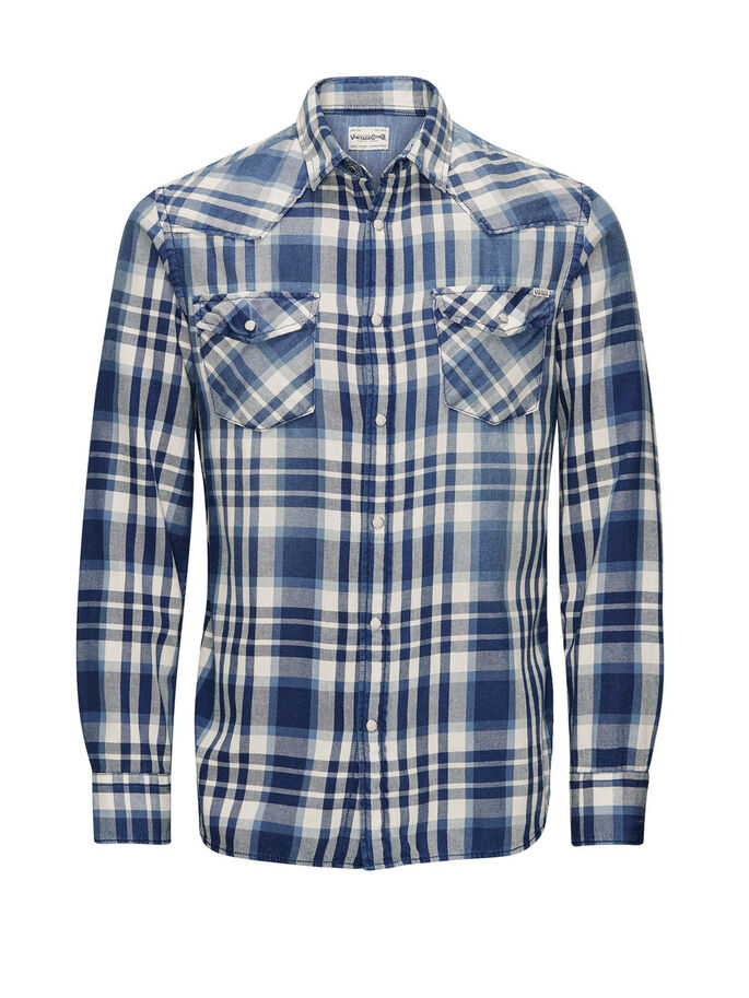 CHECK WESTERN CASUAL SHIRT, Mood Indigo, large