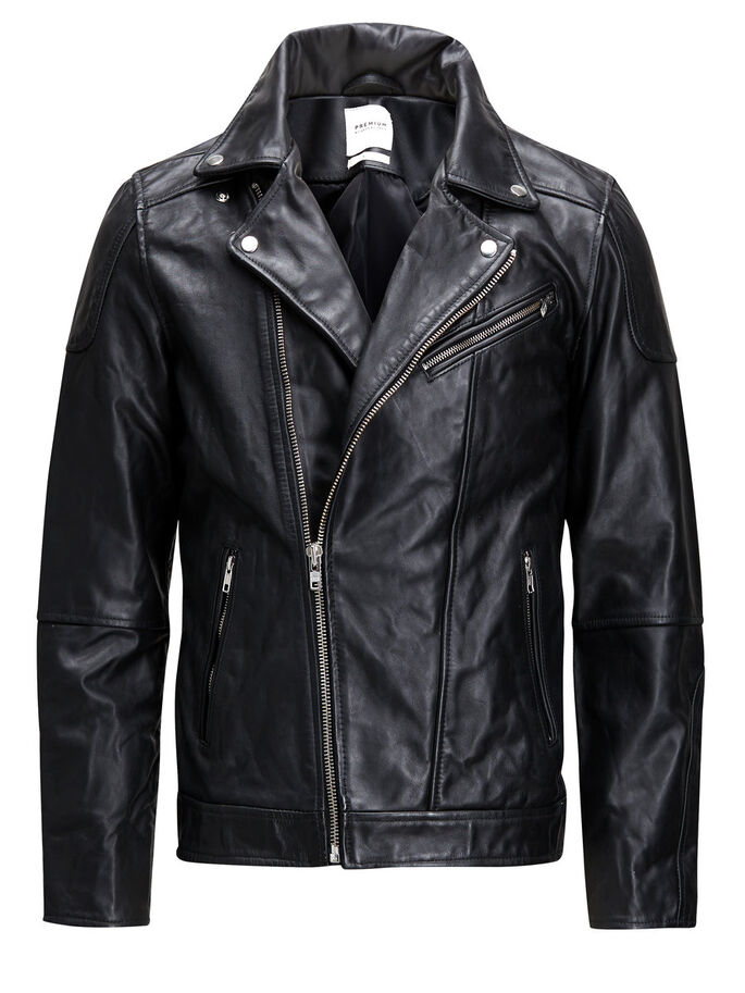 ROCKER LEATHER JACKET, Black, large