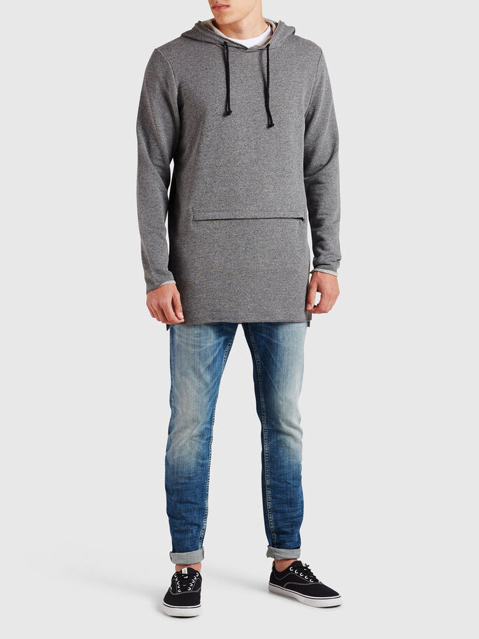 CASUAL HOODIE, Dark Grey Melange, large