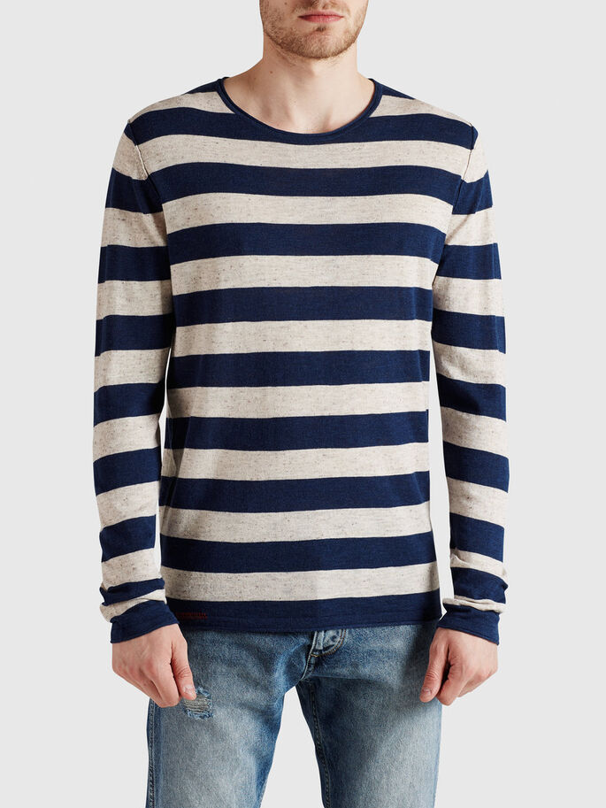 LIGHTWEIGHT STRIPED PULLOVER, Ecru, large