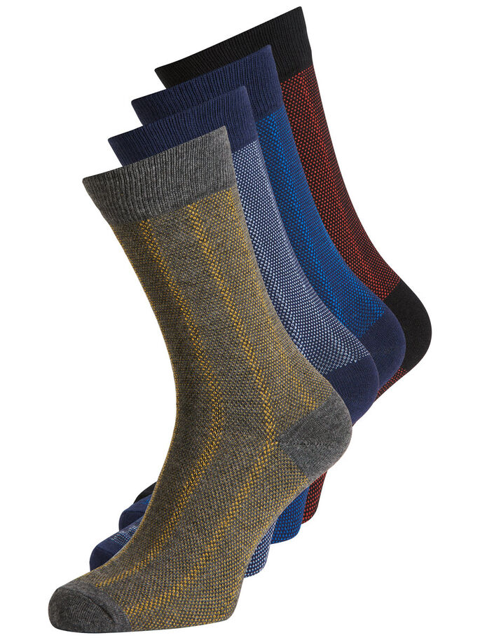 KNITTED 4 PACK SOCKS, Black, large