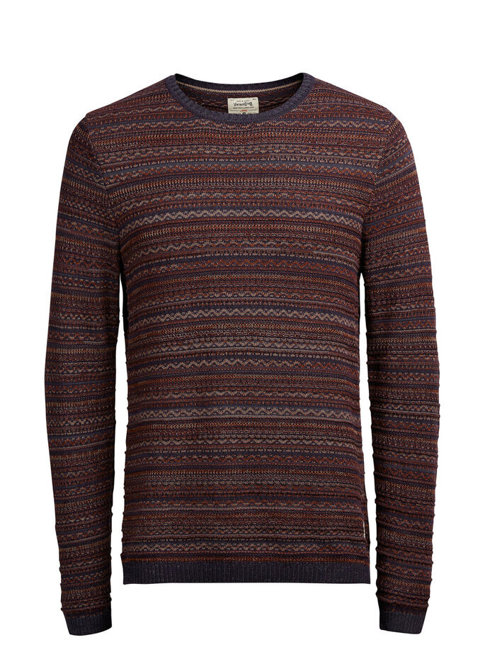 JACQUARD KNITTED PULLOVER, Fired Brick, large
