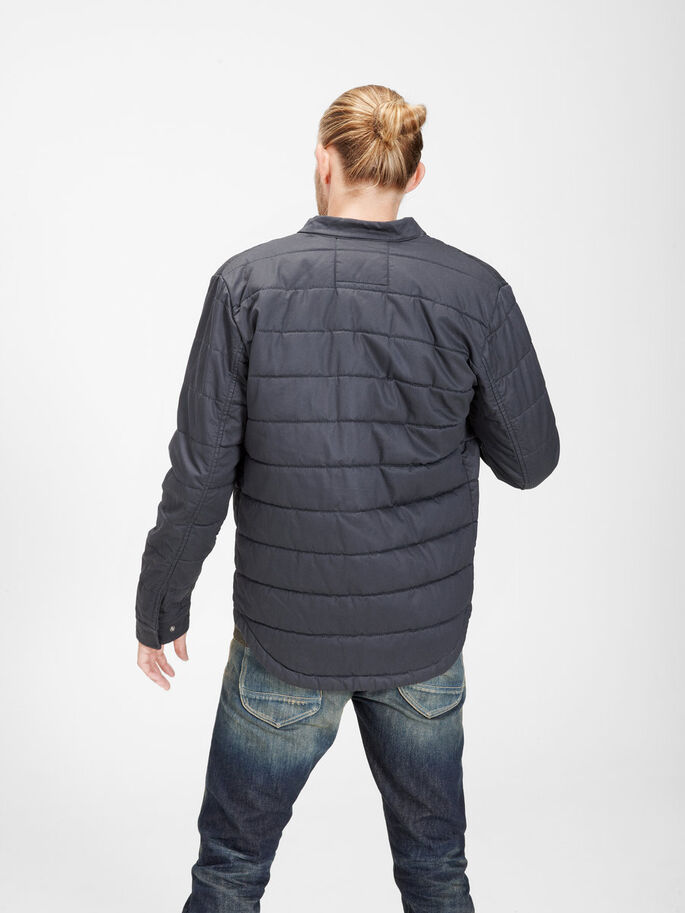 WAXED QUILTED JACKET, Dark Navy, large