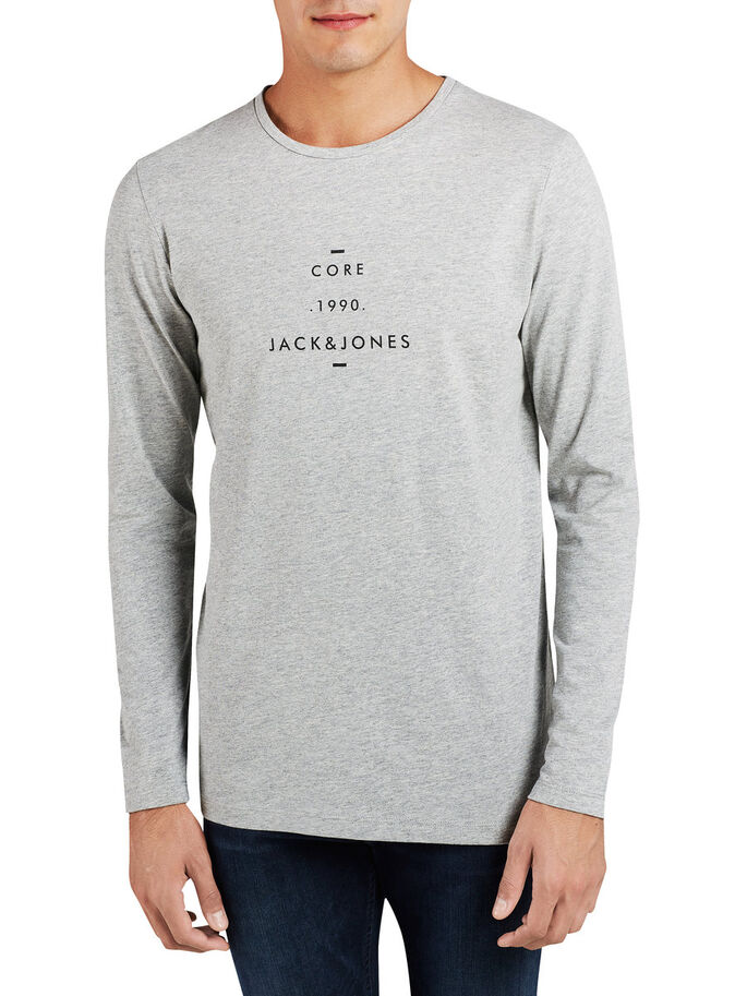 GRAPHIC LONG-SLEEVED T-SHIRT, Light Grey Melange, large
