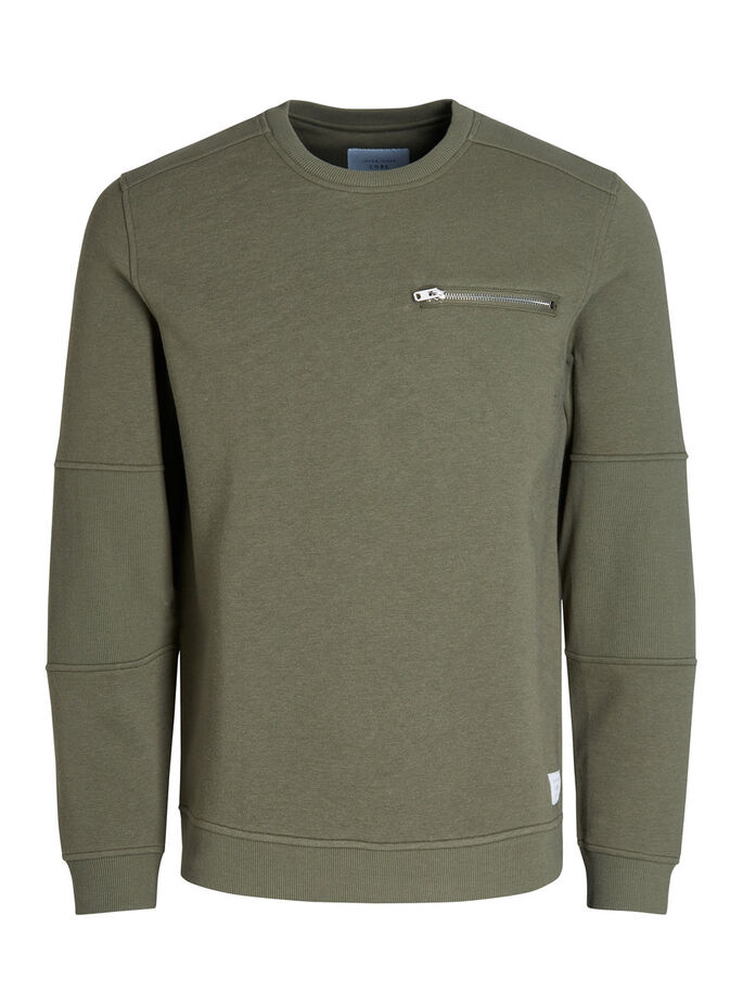 DETAILED SWEATSHIRT, Deep Lichen Green, large
