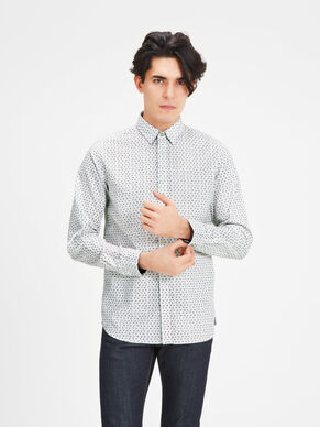 PRINT OXFORD BUTTON-UNDER OVERHEMD MET LANGE MOUWEN