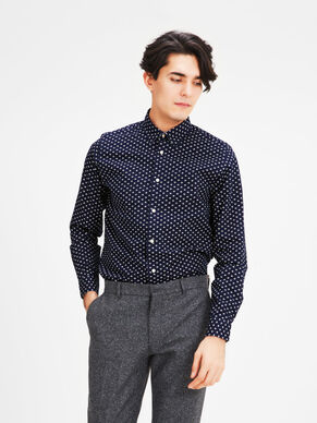 BEDRUCKTES OXFORD BUTTON-UNDER- LANGARMHEMD