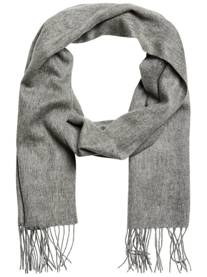 WOOL SCARF, Grey Melange, large