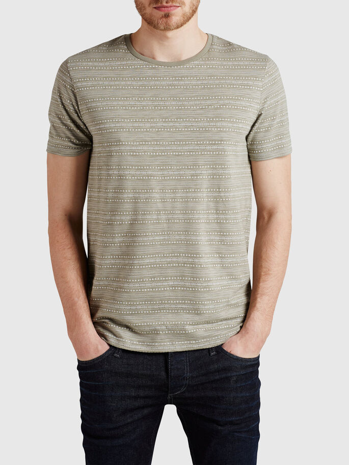 JACQUARDBEDRUCKTES T-SHIRT, Laurel Oak, large