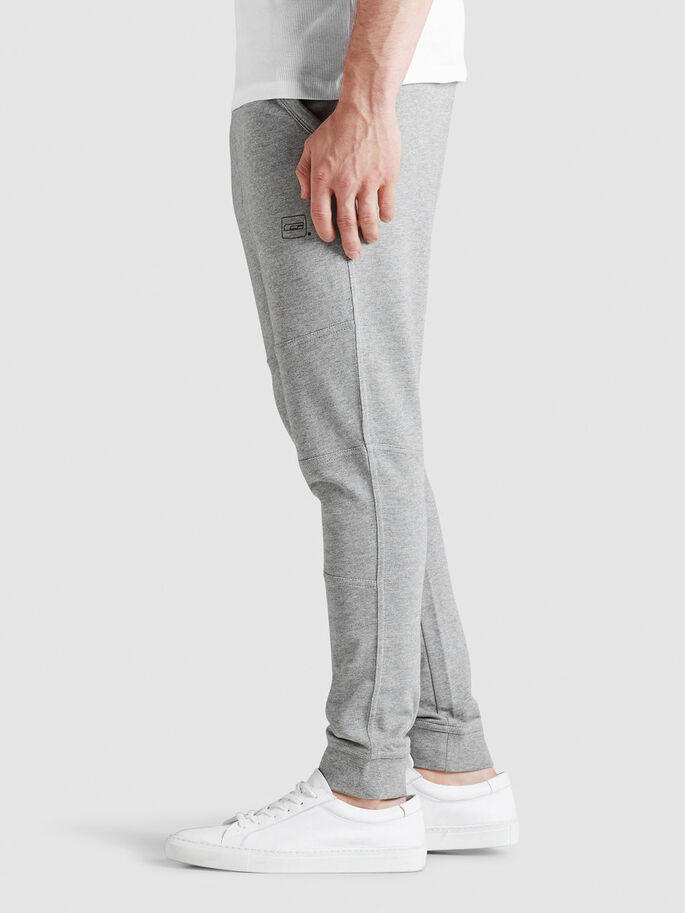 TIGHT FIT JOGGING EN MOLLETON, Light Grey Melange, large