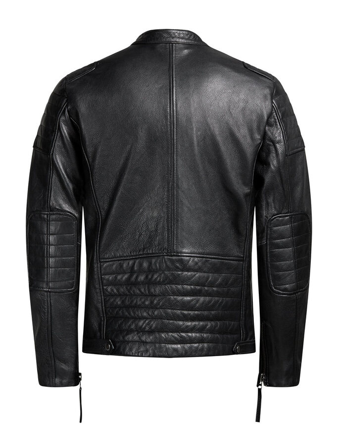 MOTARD VESTE EN CUIR, Black, large