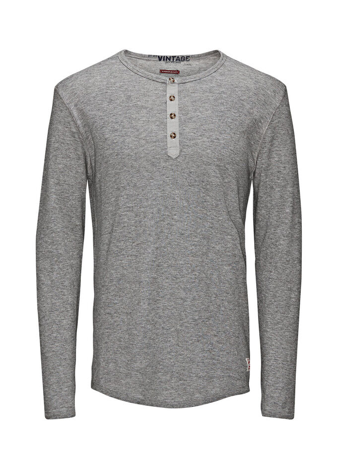 OPA T-SHIRT MET LANGE MOUWEN, Light Grey Melange, large