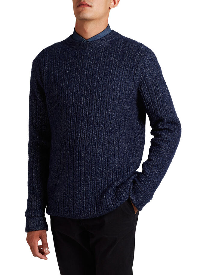WOOL-BLEND CABLE KNIT KNITTED PULLOVER, Navy Blazer, large