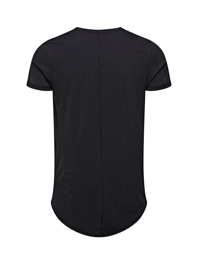 BASIC LONGLINE T-SHIRT, Black, large