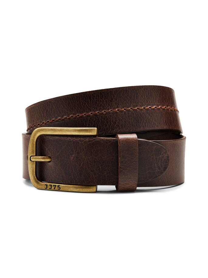 BRANDED LEATHER BELT, Black Coffee, large