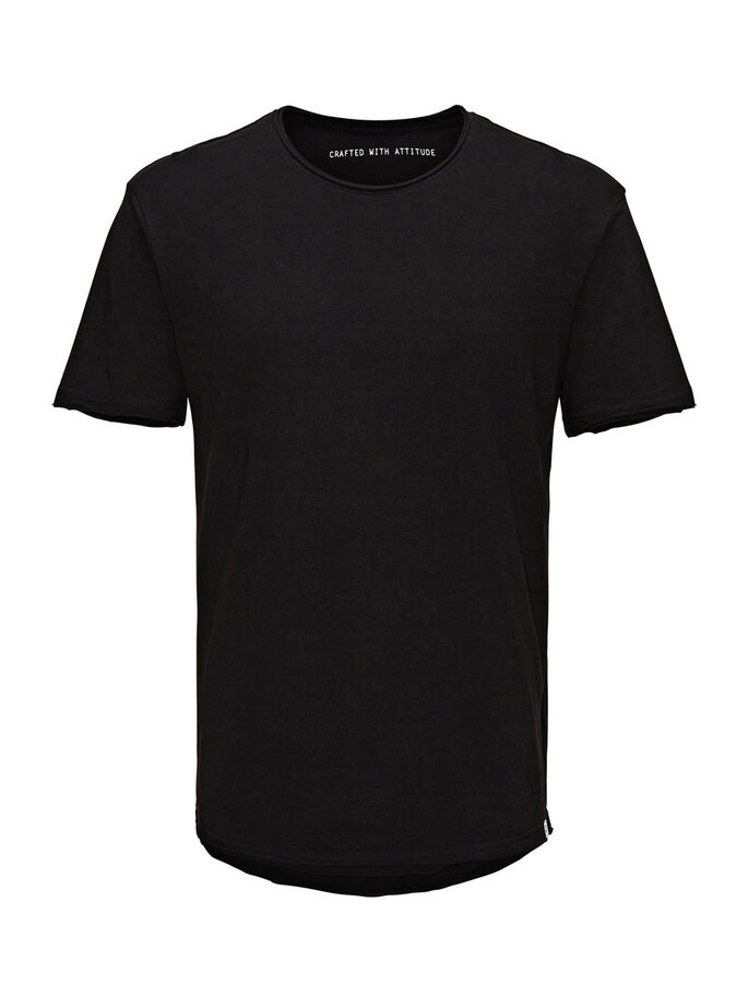 EINFARBIGES LONG-FIT- T-SHIRT, Black, large