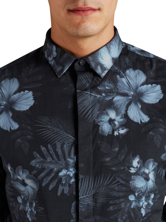 FLORAL LONG SLEEVED SHIRT, Black, large