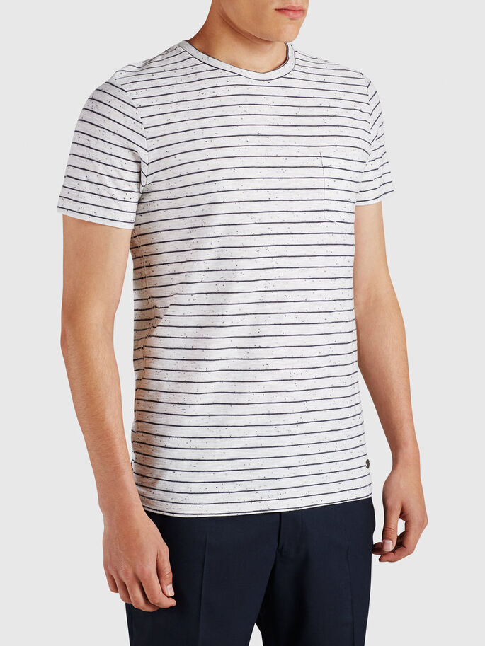 STRIPED T-SHIRT, White Melange, large