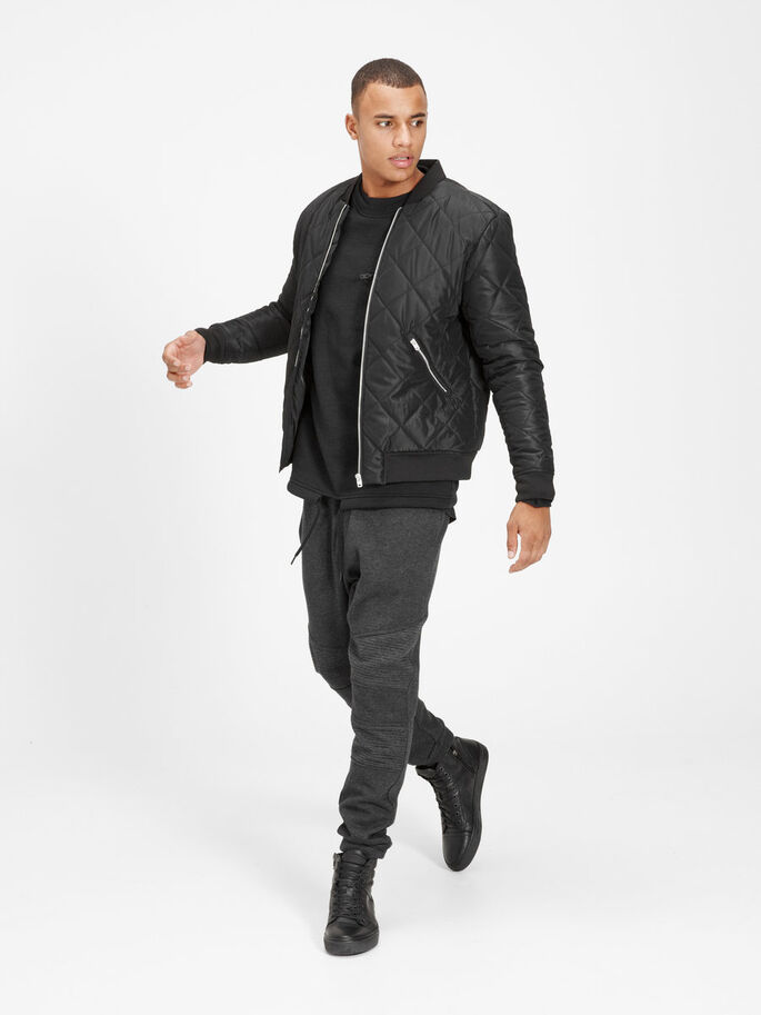QUILTED BOMBER JACKET, Black, large