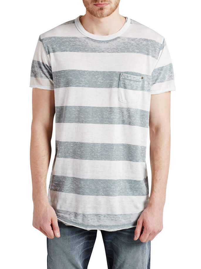 STRIPED BURNOUT T-SHIRT, Blue Mirage, large