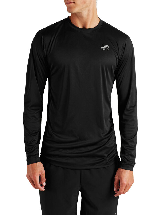TRAINING LONG-SLEEVED T-SHIRT, Black, large