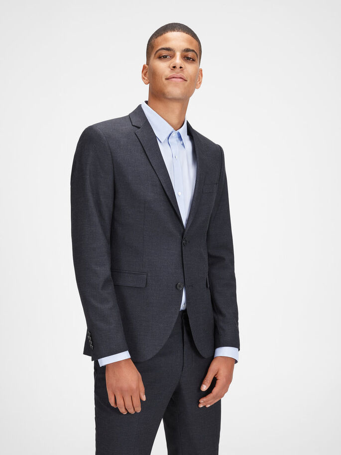 CHEQUERED SLIM FIT BLAZER, Dark Navy, large