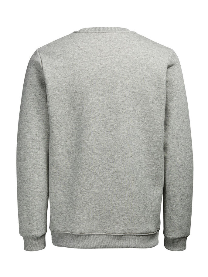 CONTRASTE SWEAT-SHIRT, Light Grey Melange, large
