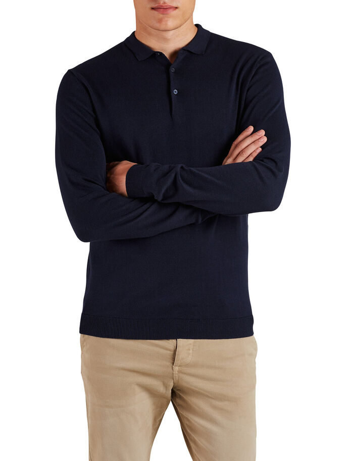 LONG SLEEVE KNITTED POLO SHIRT, Navy Blazer, large