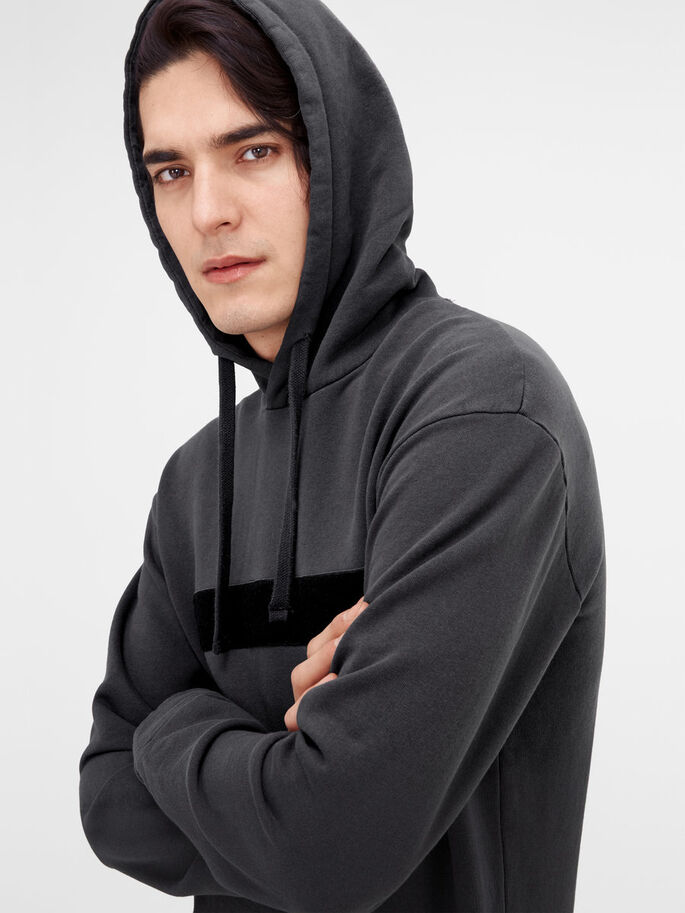 DETAILED HOODIE, Asphalt, large