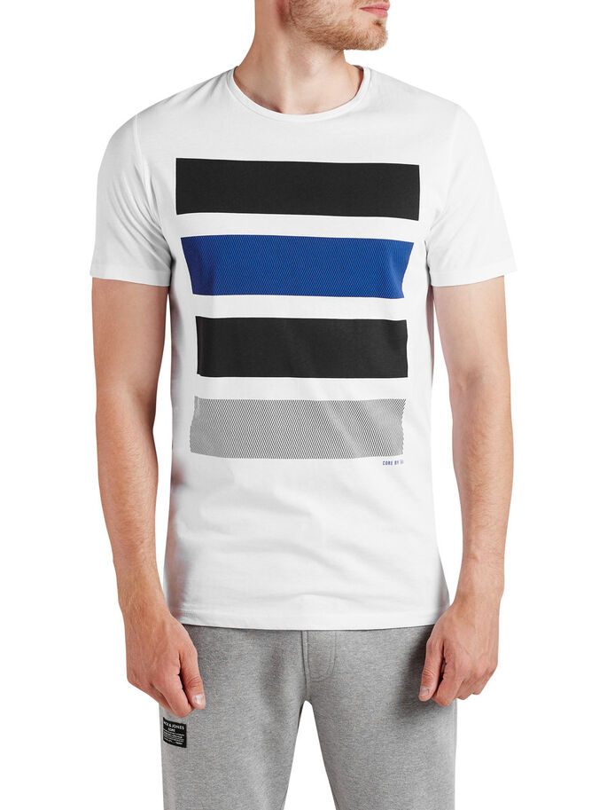 STRIPED T-SHIRT, White, large