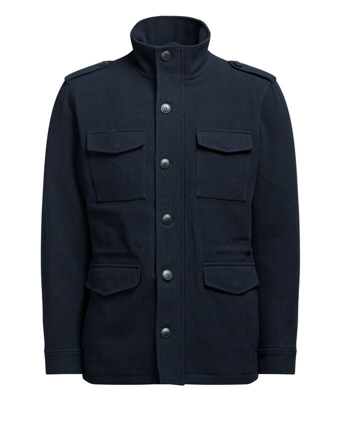 HIGH NECK WOOL BLEND JACKET, Dark Navy, large