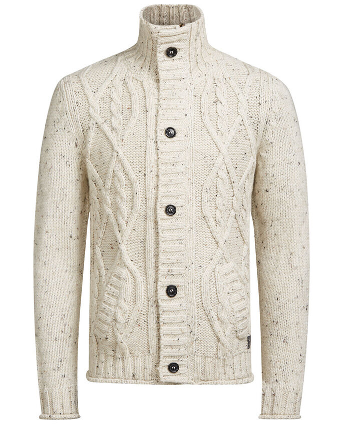 CABLE KNIT SHAWL NECK CARDIGAN, White Pepper, large