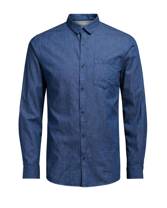 DE ESTILO CLÁSICO CAMISA DE MANGA LARGA, Dark Blue Denim, large