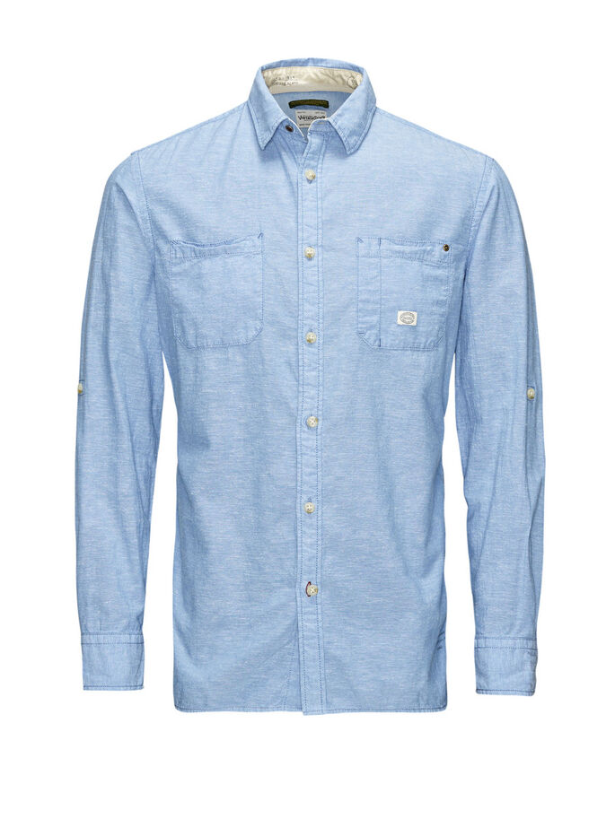 CHAMBRAY CASUAL OVERHEMD, Light Blue Denim, large