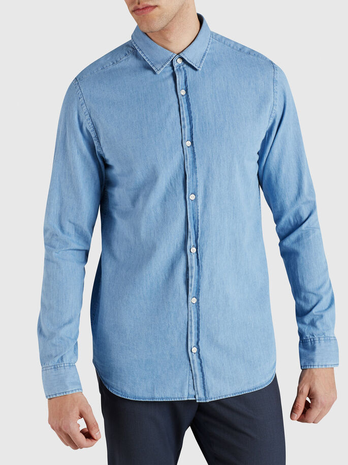 DENIM ELEGANTE - CAMISA DE MANGA LARGA, Light Blue Denim, large