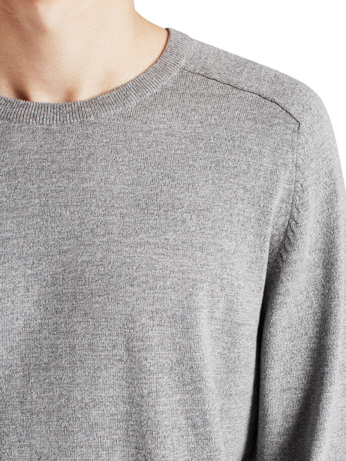 SOLID PULLOVER, Light Grey Melange, large