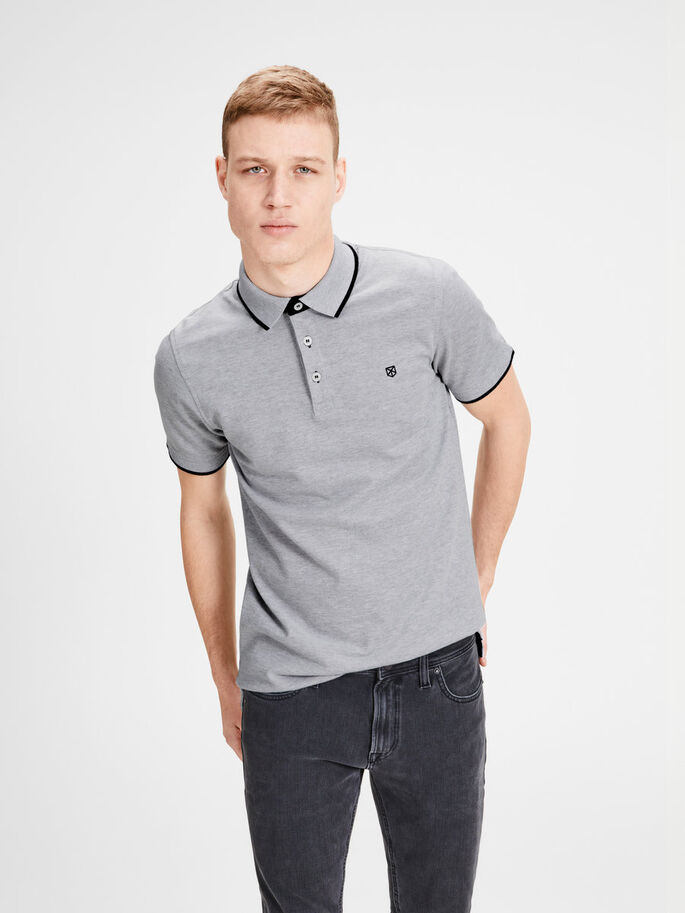 COTTON PIQUÉ POLO SHIRT, Light Grey Melange, large