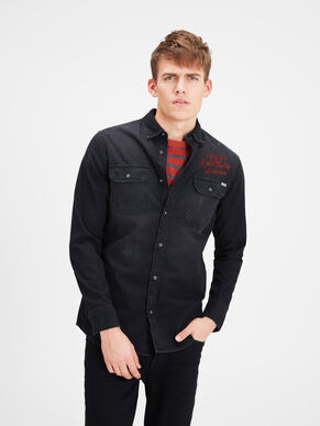 CHAIN-STITCH DENIM LONG SLEEVED SHIRT