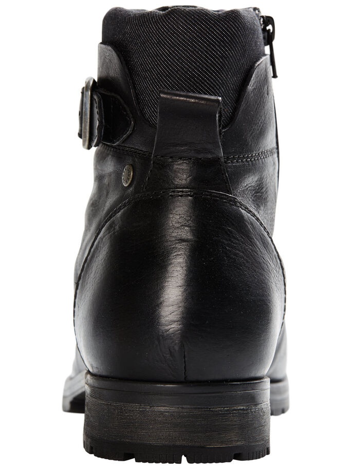 LEATHER BOOTS, Black, large