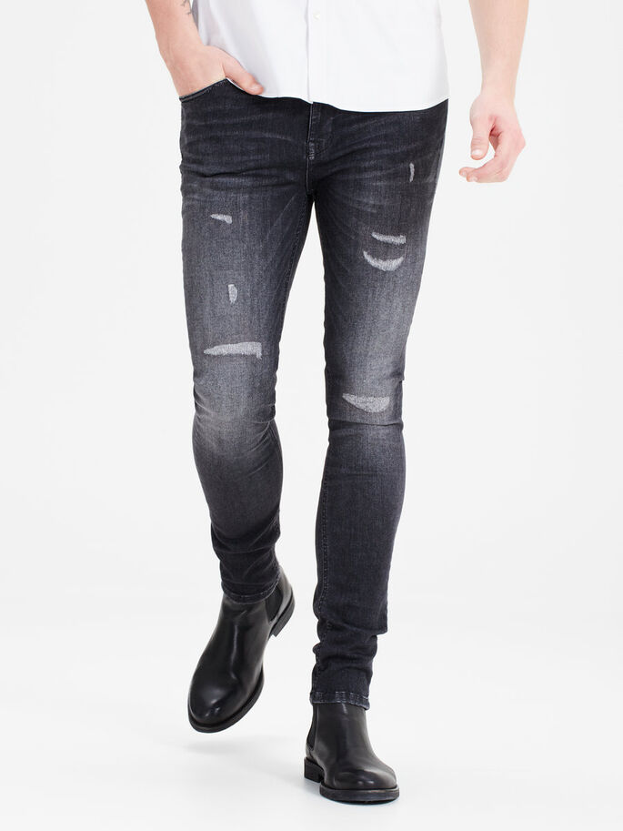 LIAM ORIGINAL JJ 989 SKINNY FIT JEANS, Black Denim, large
