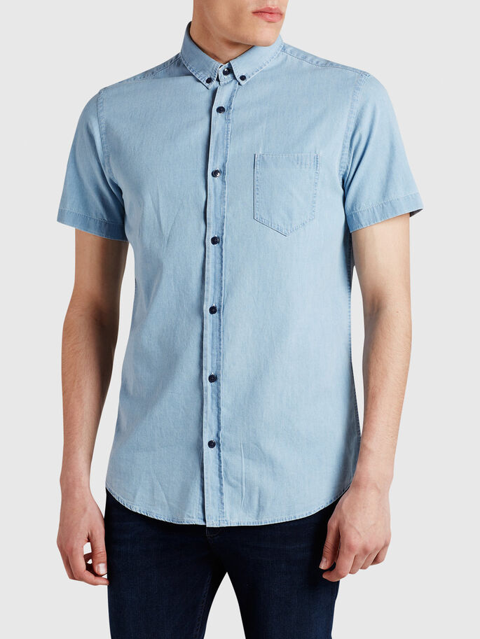 SHARP DENIM SHORT SLEEVED SHIRT, Light Blue Denim, large