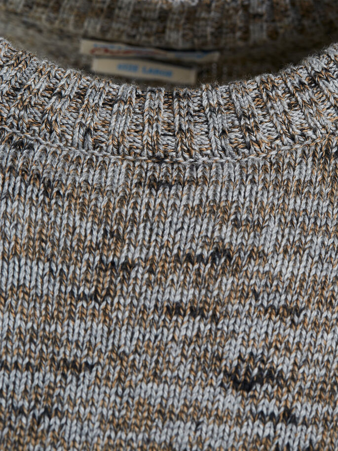 LÄSSIGER STRICKPULLOVER, Light Grey Melange, large