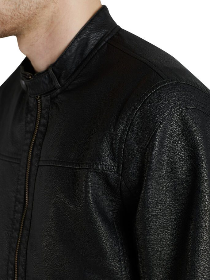 CUERO ARTIFICIAL CHAQUETA, Black, large