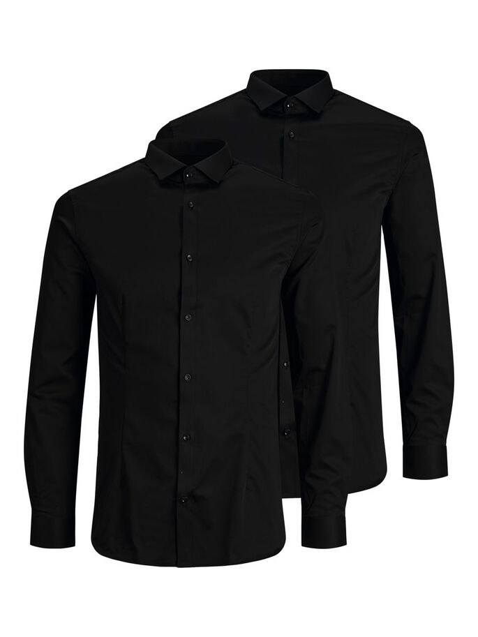 2-PACK SATIN SUPER SLIM FIT SHIRT, Black, large