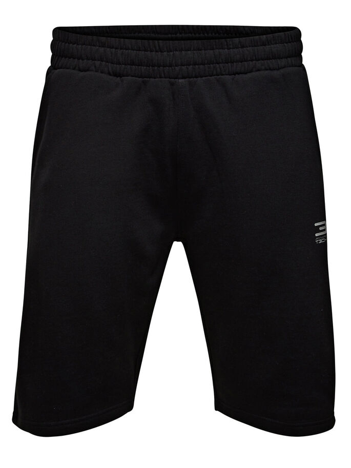 SPORTIVI SHORTS IN FELPA, Black, large