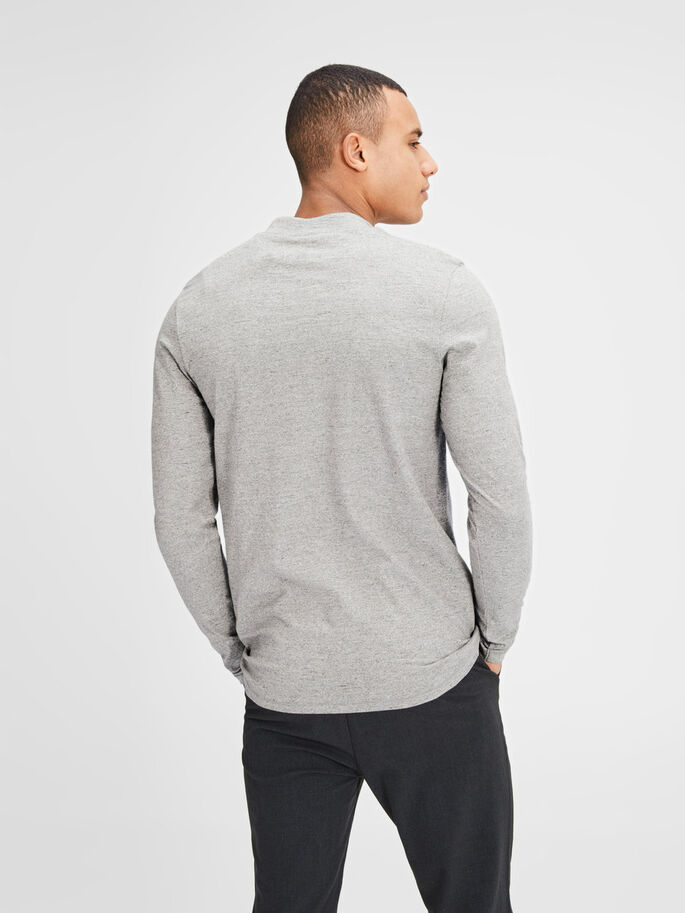 HØY HALS LANGERMET T-SKJORTE, Light Grey Melange, large